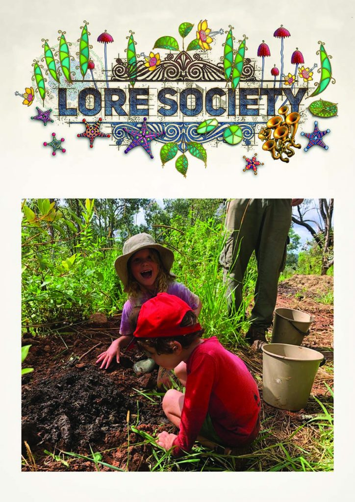 Cover page of Lore Society volume 18 with 2 kids near some mud and smiling................................................................................................................